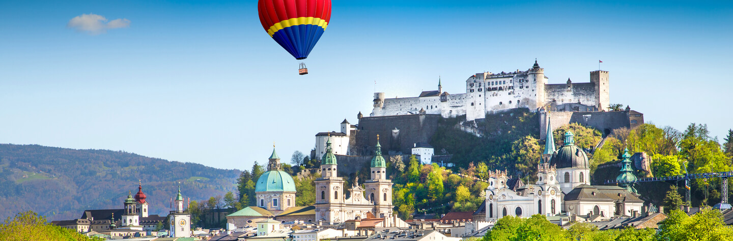 Historic town of Salzburg with Salzach river in summer, Austria