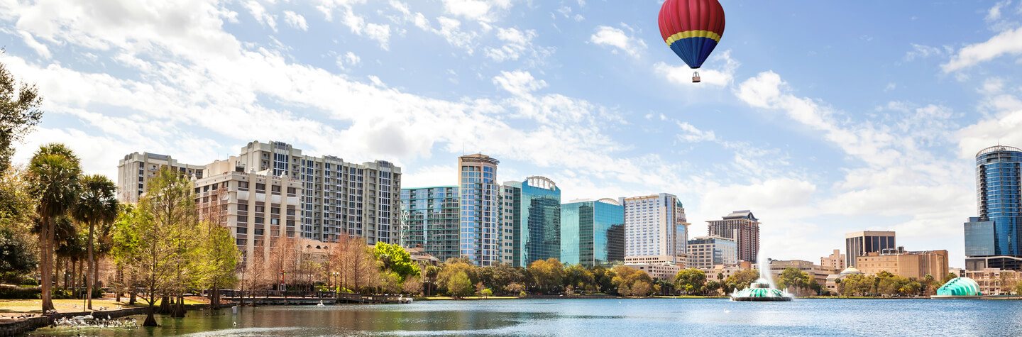 Skyscrapers overlooking Lake Eola in Orlando, Florida